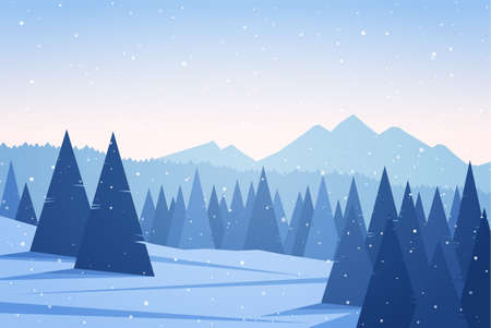 Vector illustration: Winter Mountains landscape with pine forest. Christmas background Illusztráció