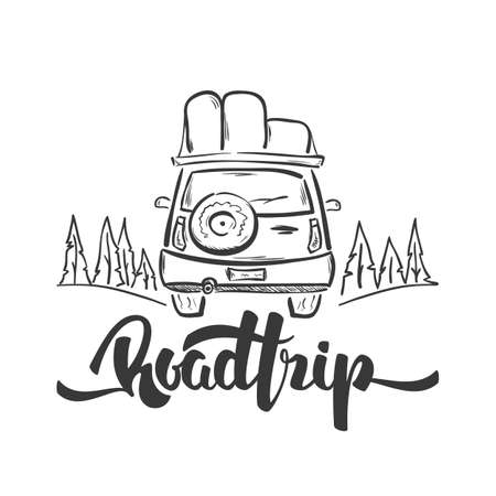 Hand drawn travel car and handwritten lettering of Road Trip. Sketch line design
