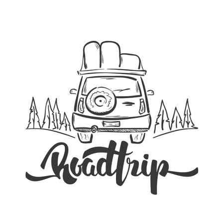 Mão desenhada carro de viagem e manuscrita letras de viagem. Desenho de linha de esboço Ilustración de vector