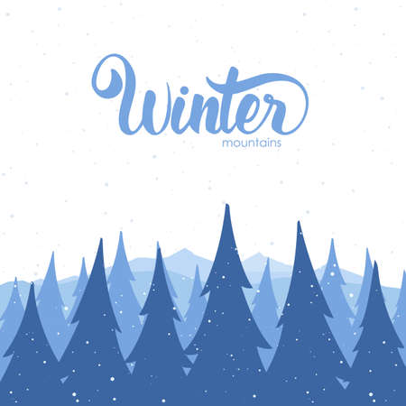Winter background with mountains and pines on foreground Иллюстрация