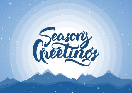 Vector illustration. Blue winter mountains background with hand lettering of Seasons Greetings Фото со стока
