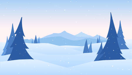 Vector illustration: Winter Mountains landscape with pines on foreground. Фото со стока - 94499388