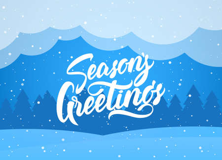Handwritten elegant modern brush lettering of Season s Greetings on blue winter background