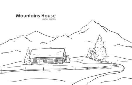 Hand drawn sketch of landscape with mountains house Ilustração