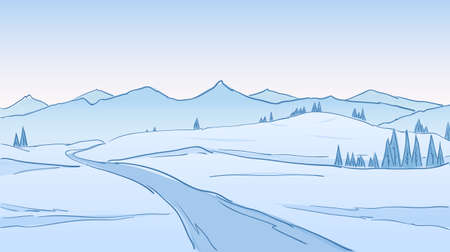 Hand drawn Winter Mountains landscape with road, pines and hills. Line design.