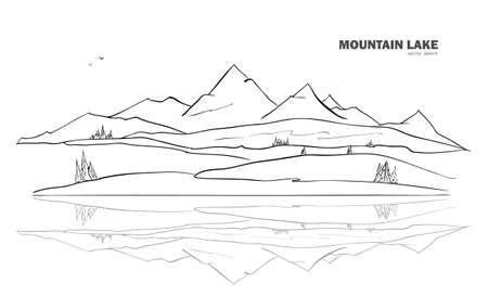 Hand drawn Mountain Lake sketch landscape with pine and reflection. Illustration