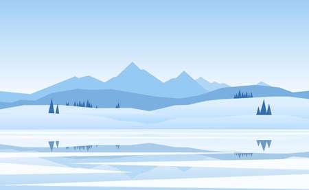 벡터 일러스트 레이 션 : 산 겨울 냉동 소나무와 반사 호수 풍경 일러스트