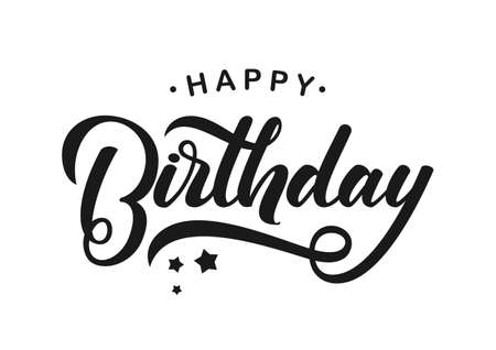 Handwritten modern brush lettering of Happy Birthday on white background.