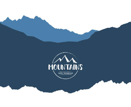 Vector illustration: Mountains landscape template background with Hand drawn emblem.