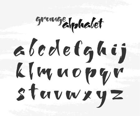 Vector illustration: Hand Drawn English grunge alphabet letters on white textured background.