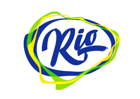 Vector illustration: Handwritten lettering of Rio in abstract colorful speech bubble. Ilustração