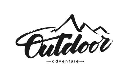 Hand drawn Modern brush lettering composition of Outdoor adventure with silhouette of mountains.