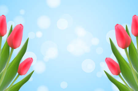 Spring template with tulips on blurred bokeh background.