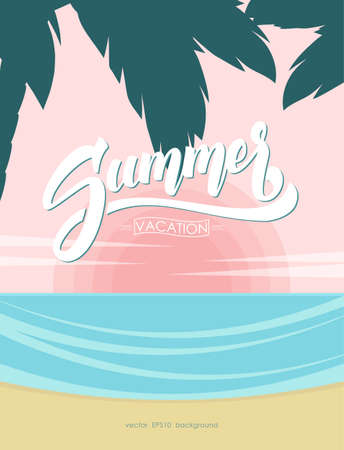 Poster with Brush lettering composition of Summer Vacation on Sunset ocean beach background. Ilustração