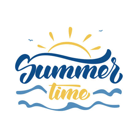 Brush lettering composition of Summer Time with sun, waves and birds on white background. Illustration