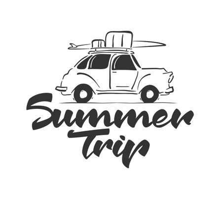 Vector illustration: Hand drawn travel retro car with baggage and surfboard on the roof. Handwritten lettering of Summer Trip. Sketch line design. Ilustracja
