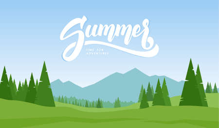 Vector illustration. Mountains landscape with hand lettering of Summer and pines on foreground. Illustration