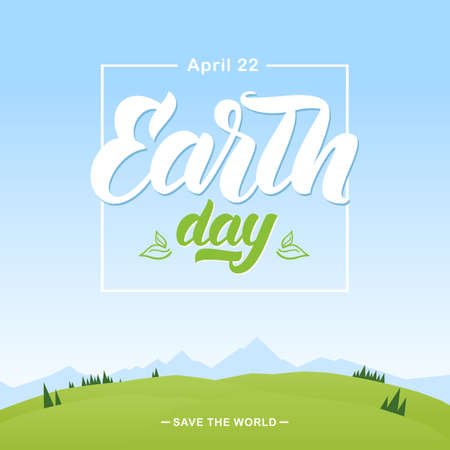 Cartoon mountains landscape with Handwritten lettering emblem of Earth Day. Ilustrace