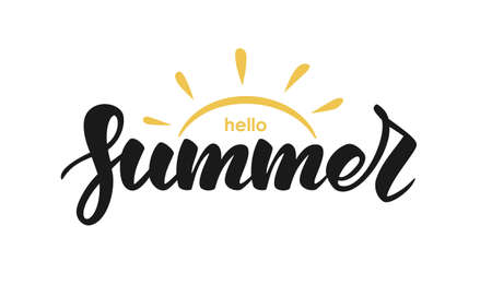 Handwritten lettering quote of Hello Summer with sun on white background. Ilustração