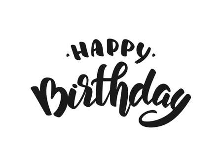 Vector illustration: Hand drawn doodle brush lettering of Happy Birthday.