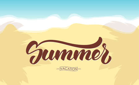Vector illustration: Brush lettering of Summer on beach background.