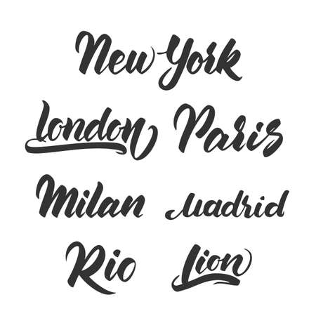 Vector illustration: Set of hand drawn lettering template for emblem of Cities.
