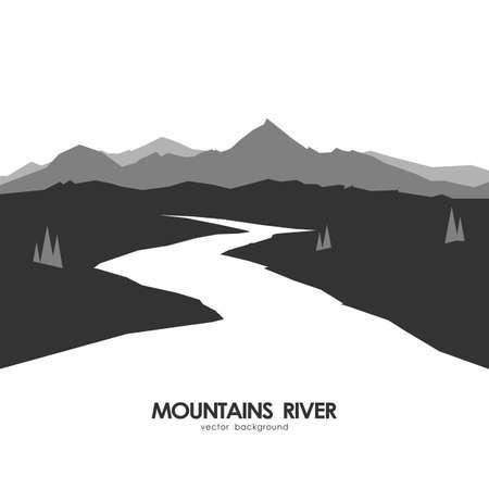 Monochrome mountains landscape with white river.