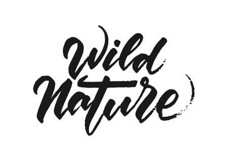 Handwritten grunge brush lettering of Wild Nature on white background. Ilustração