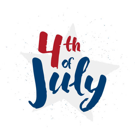 Hand lettering of Happy Independence Day. Fourth of July typographic design. Vectores