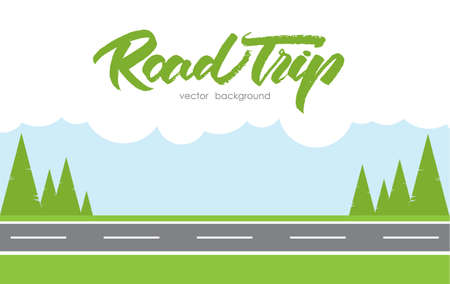 Vector illustration: Road Trip background Çizim