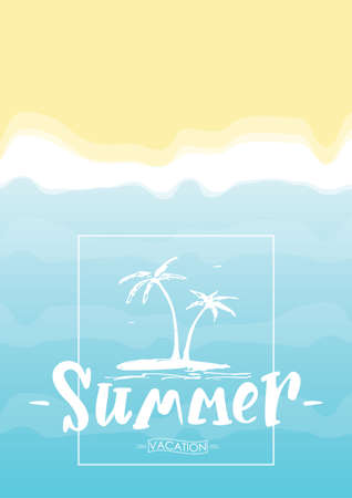 Vector illustration: Lettering composition of Summer with tropical island on beach background. Imagens - 94525860