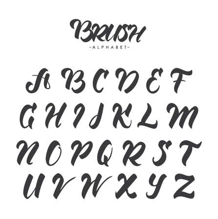Hand Drawn English brush alphabet letters on white background. Vettoriali