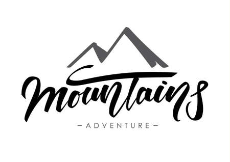 Hand lettering composition of Mountains Adventure on white background.