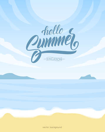 Vetrical poster with Paradise landscape, ocean beach and hand lettering of Hello Summer Vacation. Ilustrace