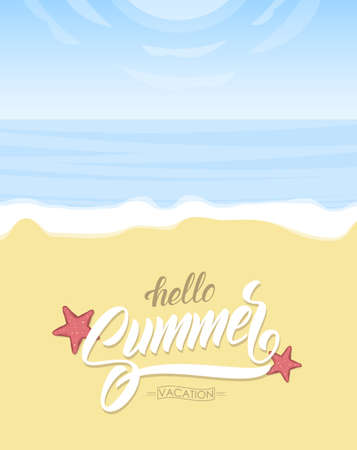 Vetrical poster with Paradise landscape, ocean beach and hand lettering of Hello Summer Vacation on Sand background.