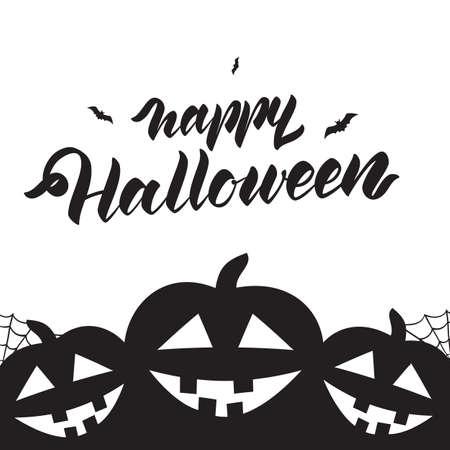 Sjabloonontwerp lay-out van poster of flyer met handgeschreven letters van Halloween en pompoenen.