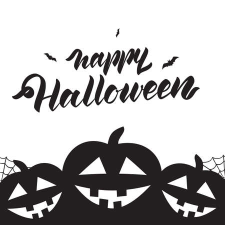 Template design layout of poster or flyer with handwritten lettering of Halloween and pumpkins. Stock Illustratie