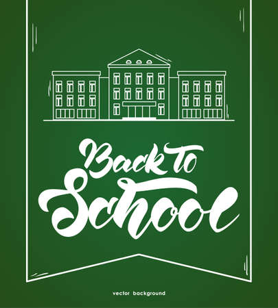 Flat line white school building and lettering back to school on green blackboard background.