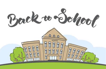 Cartoon scène met doodle schoolgebouw en handgeschreven letters.