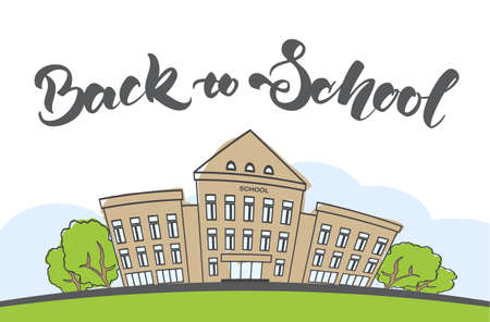 Cartoon scene with doodle school building and handwritten lettering. Illustration