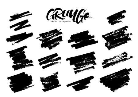 Set of grunge brush strokes on white background. Illustration