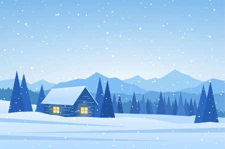 Paisagem das montanhas do inverno com a casa no primeiro plano.