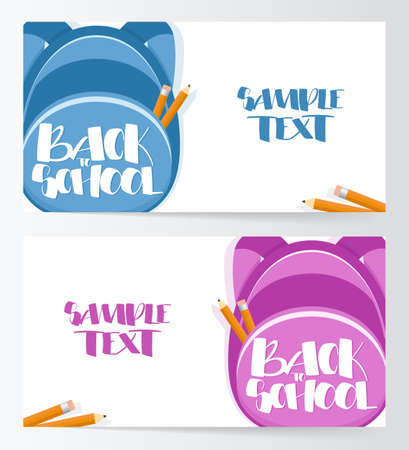 Two banners Template with backpacks and Hand drawn lettering Back to School Illusztráció
