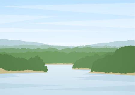 Vektorillustration: Sommerflusslandschaft Standard-Bild - 94668732