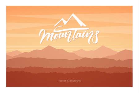 Vector illustratie: herfst bergen zonsondergang landschap.