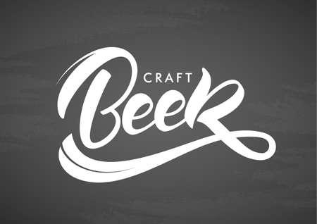 Handwritten lettering of Craft Beer on chalkboard background