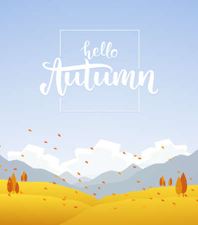 Fall hillside landscape with handwritten lettering of Hello Autumn Illusztráció