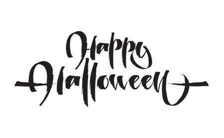 Hand drawn lettering of Happy Halloween on white background.