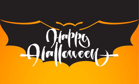 Hand drawn lettering of Happy Halloween on Bat silhouette background Illustration