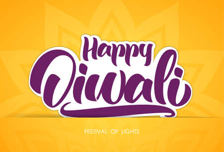 Greeting card with handwritten lettering of Happy Diwali.
